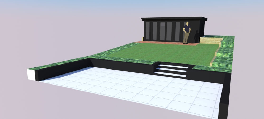 computer generated image of garden and garden office