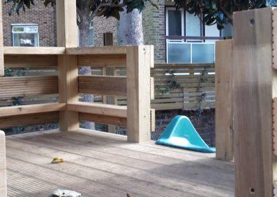 upper level of children's outdoor playhouse