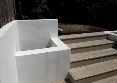 Back garden concrete plant boxes