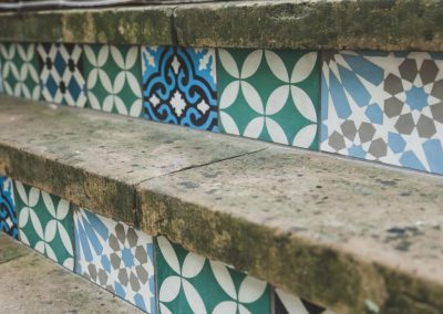 blue green and white Moroccan style encaustic tiles