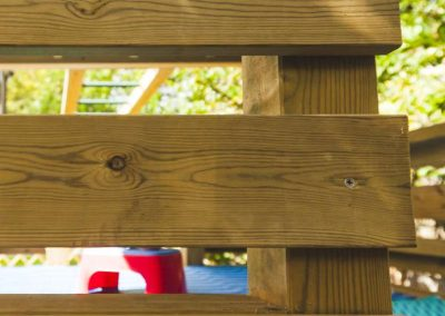 wooden beams of children's play platform