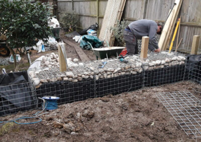gabion cages in large garden