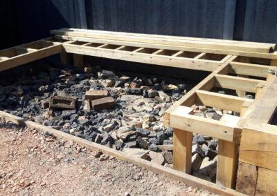 wooden platform for plant beds