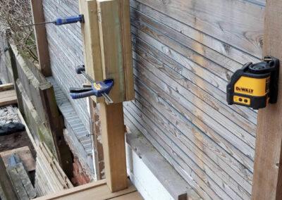 wooden raised decking posts