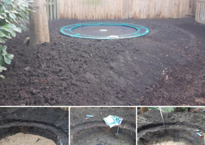 hole for water feature in garden