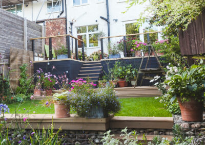 terraced garden with raised decking