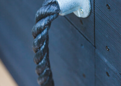 blue rope handle with steel fasteners