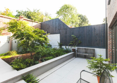 large area of plants and trees in contemporary garden