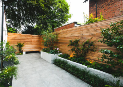 plants along cedar batten fencing in contemporary garden