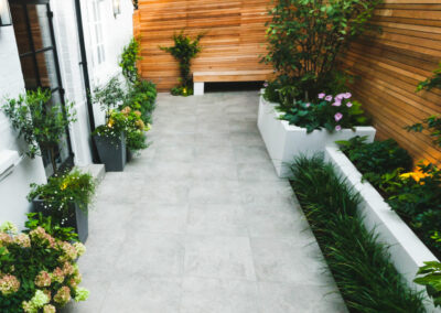 plants flanking patio
