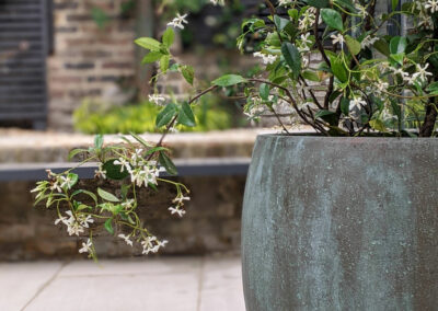 tall grey vase with plant in contemporary garden