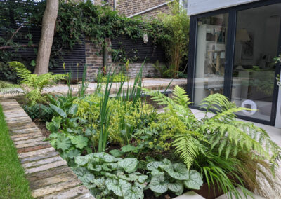 ferns and other plants in raised planter at backdoor patio