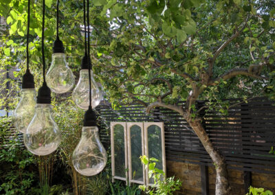 five light bulbs hanging from a tree in contemporary garden