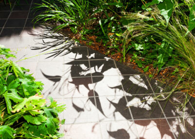 hand cut quarry tiles with plants