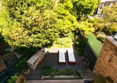 Ariel view of contemporary garden in Hackney